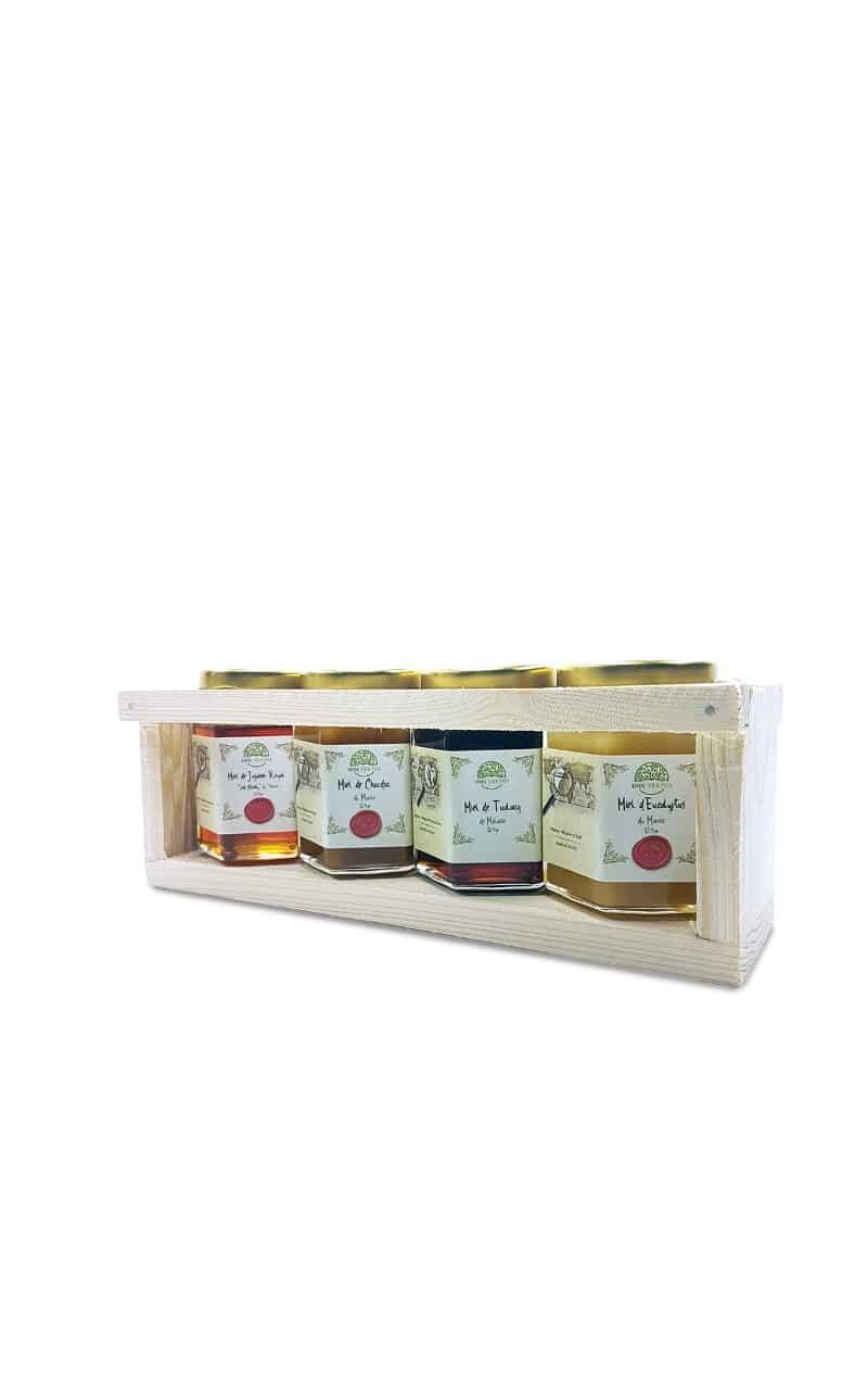 Coffret de 4 pots de 125g de miel